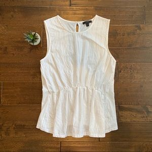 J.Crew White Striped Cinched Waist Blouse